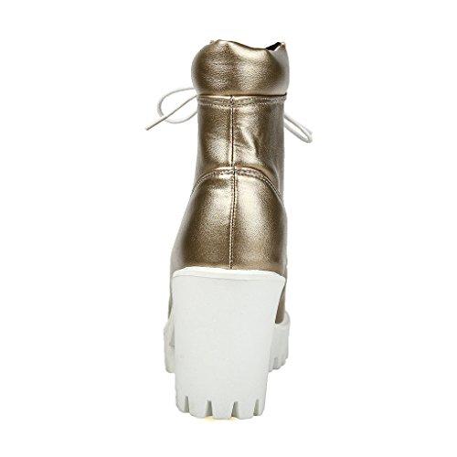 ENMAYER Mujeres Confortables High Point Diseño Botas Altas Talones de la Plataforma Dorado
