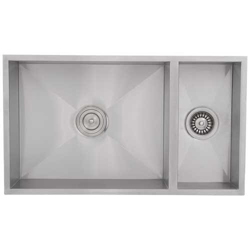 "Phoenix 31-1/4"" Undermount Double Bowl 16 Gauge Stainless Steel Square Kitchen Sink Zero Radius"