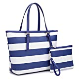 Dasein Women's Top Handle Structured Two Tone Tote Bag Satchel Handbag Shoulder Bag With Shoulder Strap (7326 Stripes Blue/White)