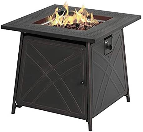 Living Accents Square Steel Tabletop Propane Fire Pit 25.5 in. H x 28 in. W x 28 in. D Aluminum