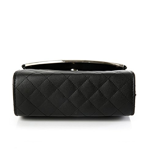 Épaule Matelassé Mini Sangle Pochette Cuir Sac Black Motif Main à Faux PU Femmes YUHEQI XwqYFvv
