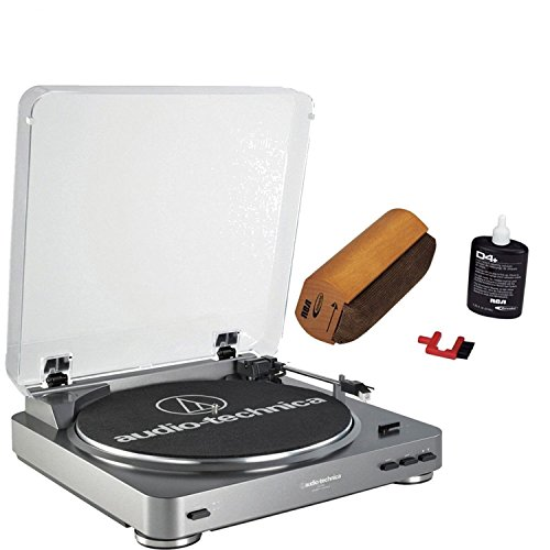 Audio-Technica AT-LP60-USB Automatic Turntable (Silver) + Discwasher RD-1006 Record Cleaning System