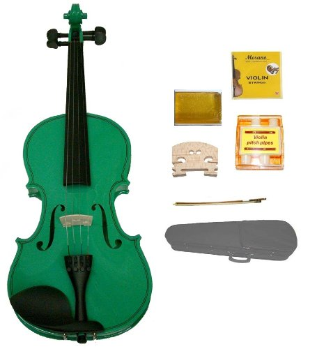 GRACE 1/10 Size Green Acoustic Violin with Case and Bow+Rosin+2 Sets Strings+2 Bridges+Tuner