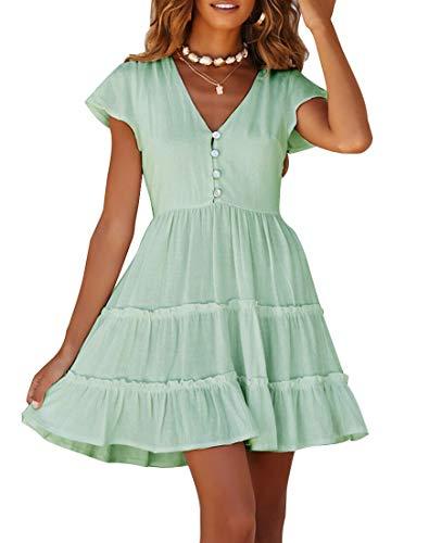 MEROKEETY Women's Summer V Neck Button Down Ruffle Sleeves Pleated Swing Mini Dress Mint
