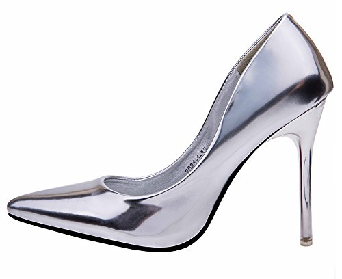 No.66 Town Women's Stiletto High Heel Dress Pumps Court Shoes Silver