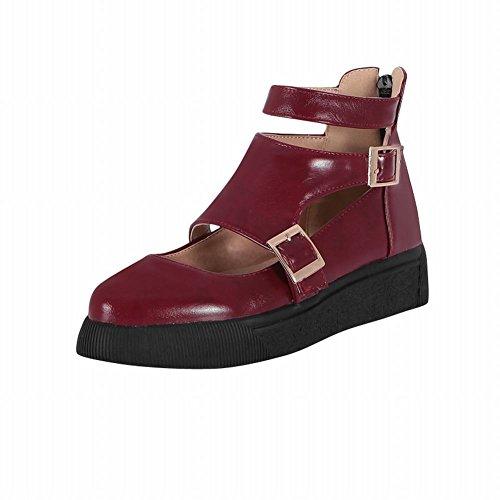 Carolbar Donna Estate Uso Multi Fibbia Comfort Casual Cerniera Traforata Sandali Tacco Basso Scarpe Vino Rosso