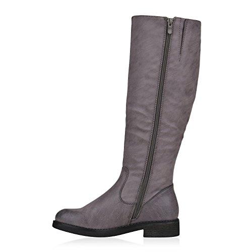 Stiefelparadies Damen Klassische Stiefel mit Blockabsatz Flandell Grau Arriate