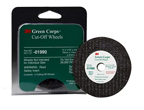 3M 01990 Green Corps 3 x 1/16 x 3/8 Cut-Off Wheel (5 Wheels Included) (Color: White, Tamaño: 3 x 1/16 x 3/8, (Pack of 5))