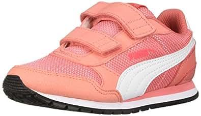 PUMA Unisex ST Runner V2 MESH Kids Sneaker Velcro Closure, Shell Pink/White, 1.5 M US Little Kid