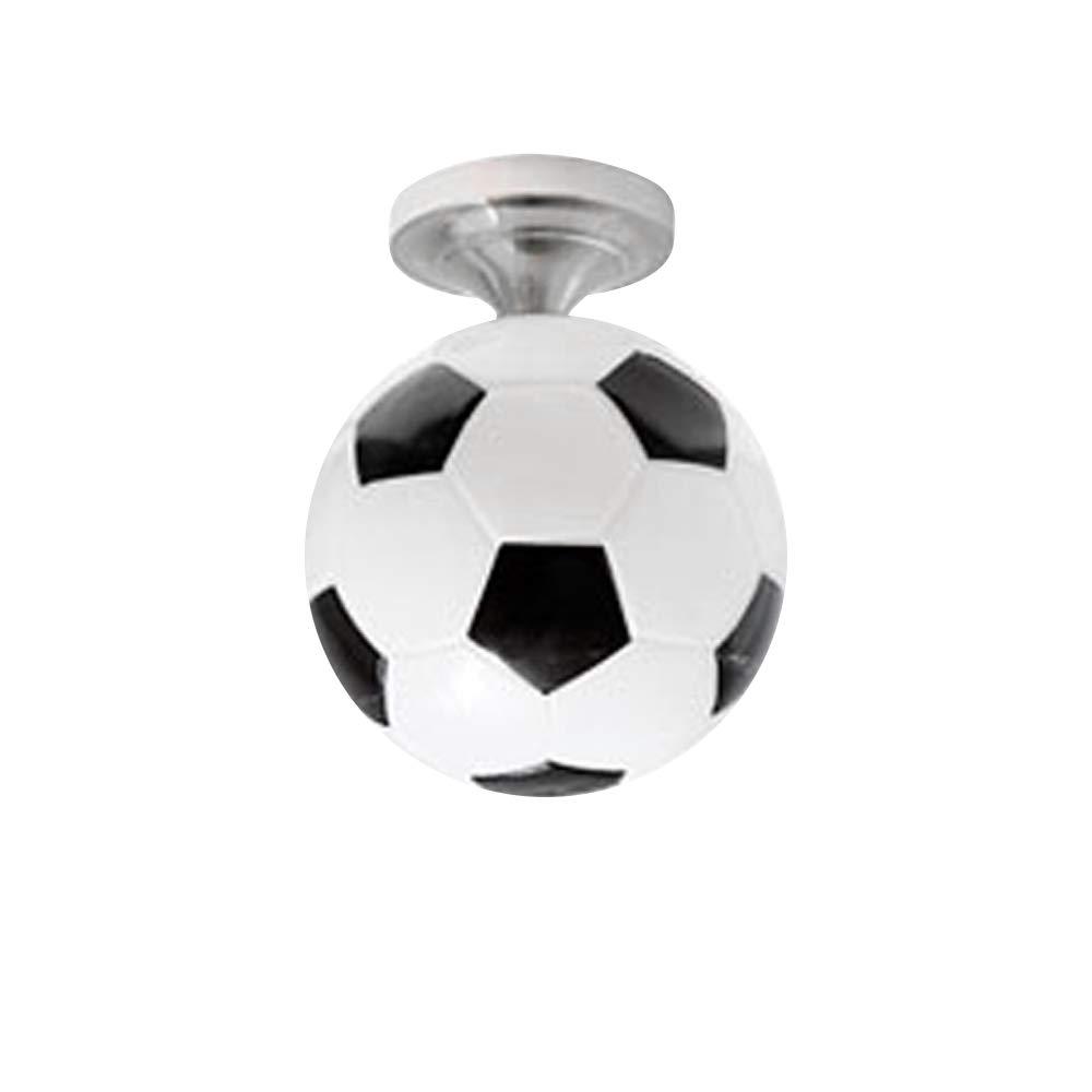 ランプ 天井 フットボール サッカー型 ランプ 吊り下げ ペンダントライト E27 ガラスランプ 寝室 リビングルーム 子供部屋 プレイルーム B07S2QFJN4 ブラック