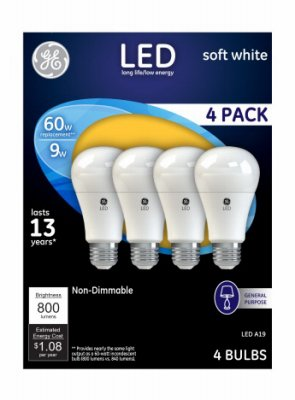 GE LED A19 9w 4 Pack