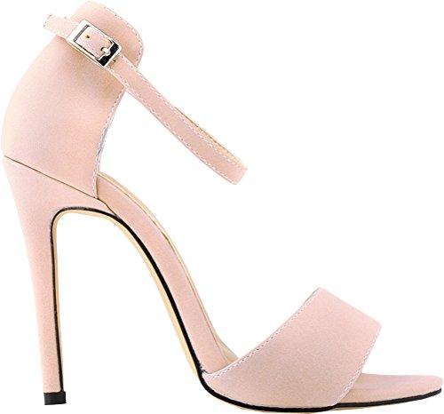 Sandals Nubuck Strap Toe Pink Heel EU Sexy 35 Womens Ankle High 5 Peep Buckle xpZcwaUq