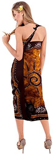 La Leela Frauen braun Badebekleidung sanft Rayon Hand Batik Badeanzug coverup 78x42inch