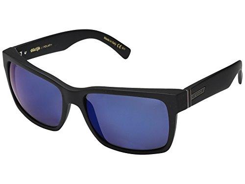 Vonzipper Mens Elmore Polarized Sunglasses, Black Satin/Wild Blue Flash Polar Plus - One ()
