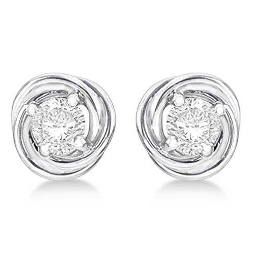 Diamond Love Knot Stud Earrings 14k White Gold (0.50ct)