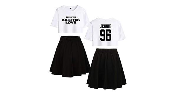 Blackpink Impreso Moda Set de Dos Piezas Camiseta Corta + Falda Pijamas de algodón Lisa Jennie Rose JISOO (4, XL): Amazon.es: Ropa y accesorios