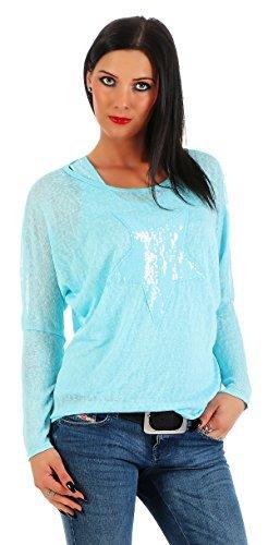 Moda Italy Damas 2 en 1 Camisa Larga Camisa del Palo Blusa túnica con Lentejuelas Top