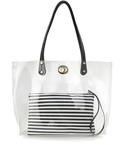 PVC Clear Womens Tote With Striped Zipper Clutch Weekender Shoulder Handbag (Black&White Stripes)