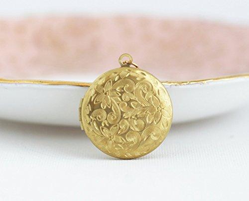 Gold Floral Design Locket (Round gold brass locket pendant necklace - 20 inch chain)