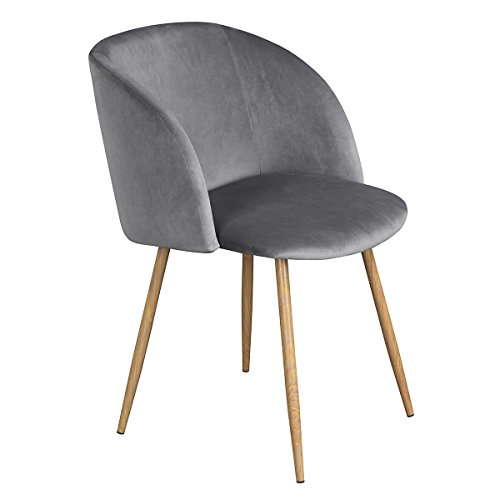 Modern Velvet Accent Living Room Chair,Upholstered Armchair Club Chair with Solid Steel Legs for Living Room Bedroom,Grey