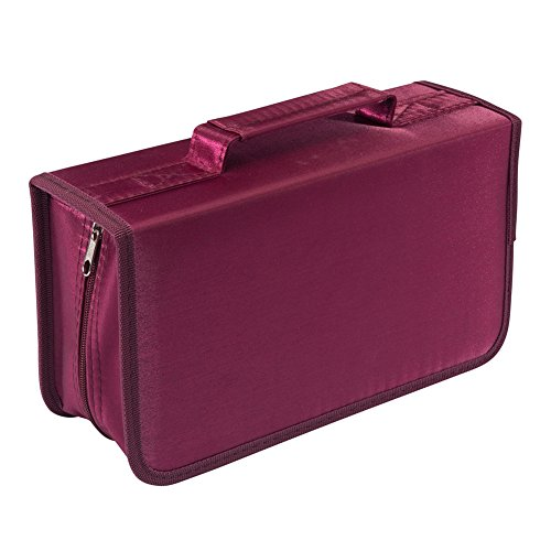 Nizzco 128 Disc CD/DVD Portable Wallet, CD Case Bag Album Box,Storage Organizer Holder,Protective DVD Storage,Rose (Holder Ideas Dvd)