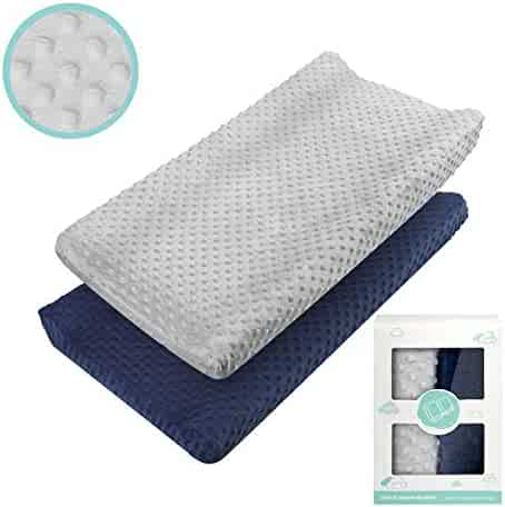 Changing Pad Cover - Babebay Ultra Soft Minky Dots Plush Changing Table Covers Breathable Changing Table Sheets Wipeable Changing Pad Covers Suit for Baby Boy and Baby Girl (2 Pack)