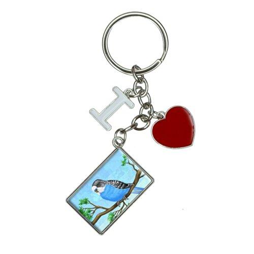 (Solo Blue Parakeet I Heart Love Keychain Key Ring)