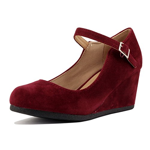 Burgundy Shoes Womens (Guilty Shoes - Womens Classic Mary Jane - Comfort Round Toe Buckle Low Heel Wedge Pumps-Shoes, Burgundy Suede, 7.5)