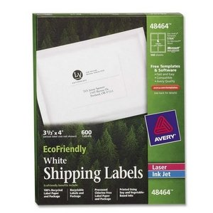Avery Dennison 48464 EcoFriendly Labels, 3-1/3 x 4, White, 600/Pack