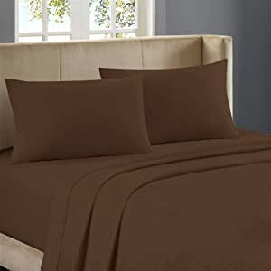 Nile Bedding Ultra Soft Egyptian cotton Fitted Sheet 20 Inches Deep Pocket 500 TC Solid ( Cal-Queen , Chocolate )