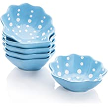 Hoomeet Porcelain Ramekins/Dessert bowls/Dipping bowls, Great for Cream Brulee, Ice Cream, Snack and Condiment, 3.3oz, Set of 6, Shell-Shaped, Hand Painted Color and Dots. (Blue)