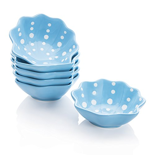Shaped Serving Dish - Hoomeet Porcelain Ramekins/Dipping bowls/Dessert bowls, Great for Cream Brulee, Ice Cream, Snack and Condiment, 3.3oz, Set of 6, Shell-Shaped with Hand-Painted Color and Dots. (Blue)