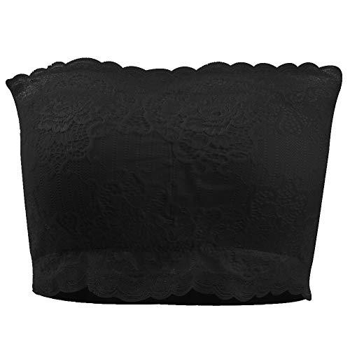 saounisi Bandeau Bra Padded, Women Large No Underwire Tank Everyday Strapless Lace Top Bra Black ()