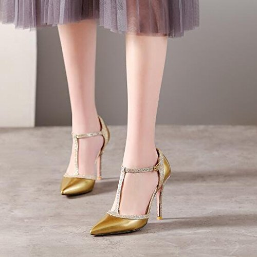 Stiletto Mesdames Buckle Out ZXCB Strappy Chaussures Femmes Sandales Court Taille Cut Gold Talon ZgwnAq