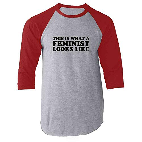 This is What A Feminist Looks Like Political Red L Raglan Baseball Tee Shirt
