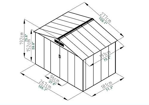 9' X 6' Outdoor Garden Storage Shed Tool House Sliding Door Steel Khaki New by tamsun (Image #2)