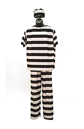 Men's Striped Prison Costume Black White (One Size) (Jailbird Adult Costume)
