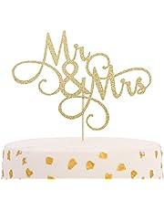 Mr & Mrs Wedding Cake Topper - Golden Glitter Cake Decorations, Wedding Bridal Cake Topper, Wedding Party Decorations, Personalized Bridal Gift Cake Decorations, Ladies Photo Booth Props