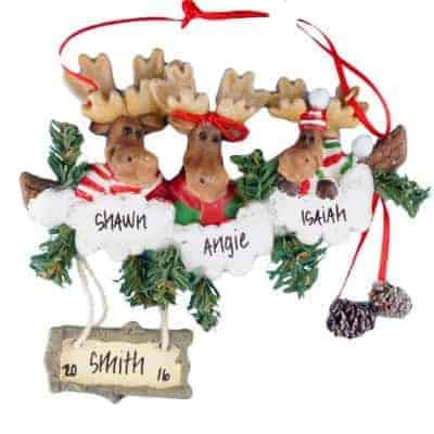 Moose Family of 3 Personalized Ornament - (Unique Christmas Tree Ornament - Classic Decor for A Holiday Party - Custom Decorations for Family Kids Baby Military Sports Or Pets)