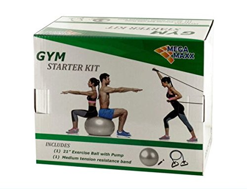 K&A Company Gym Starter Kit with Exercise Ball, Pump & Resistance Band Case of 6 by K&A Company