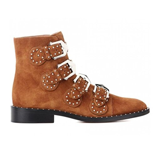 Grande En With À Side Véritable Bottes Toe Pointed Talons Rivets Taille Femmes Yellowbrown Cuir Chaussures Courtes 39 Xie Boucle Ok8Xn0PZNw