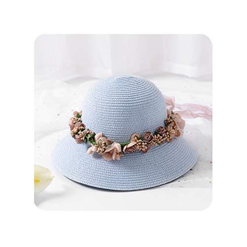 (Summer Womens Flower Straw Hats Garland Sunbonnet Bucket Hat Wide Brim Sun Beach Trilby Hat,Sky)