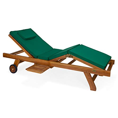 All Things Cedar TL78-G Teak Chaise Lounge Char with Green Cushion