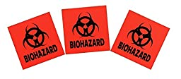 3-pack 4-inch DOT Stickers - Neon Orange Biohazard