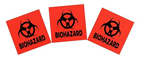Biohazard Sticker - 3-pack 4-inch DOT Stickers - Neon Orange Biohazard