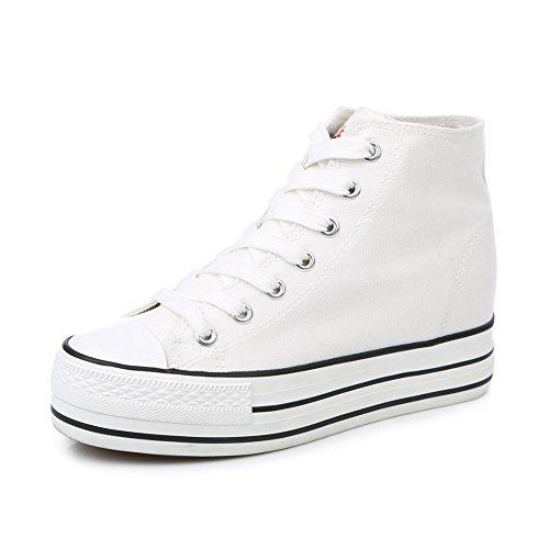 zapatos de lona de mujeres/Zapatos alta minimalistas clásico de otoño/Mayor plataforma de zapatos blancos poco sigilo C