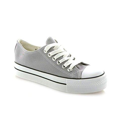 Damen Sneakers Freizeit Turnschuhe Low Top Schuhe Grau