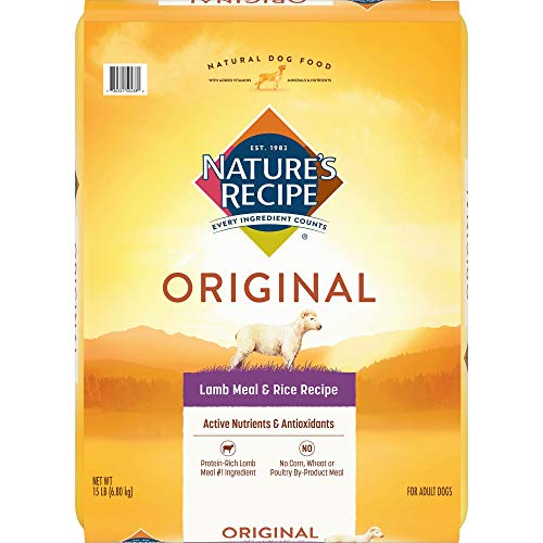 Nature's Recipe Adult Dog Food Dry, Lamb Meal & Rice Recipe, 15-Pound (Packaging may vary)