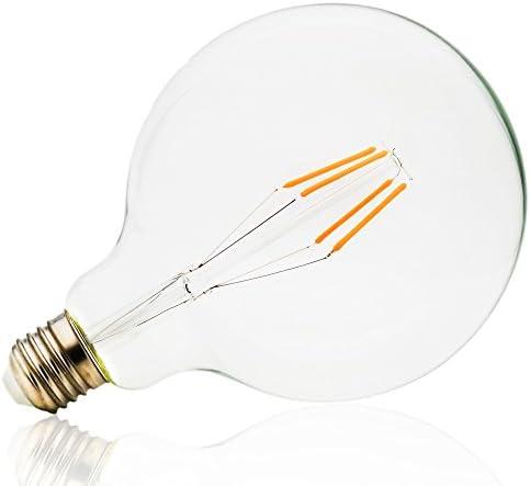Mengjay - 20 bombillas de 4 W G125 E27, no regulable, 4 filamentos, luz blanca cálida, 2900 K, tornillo Edison, 125 x 165 LED, bombilla de filamento transparente, 40 W, repuesto 650
