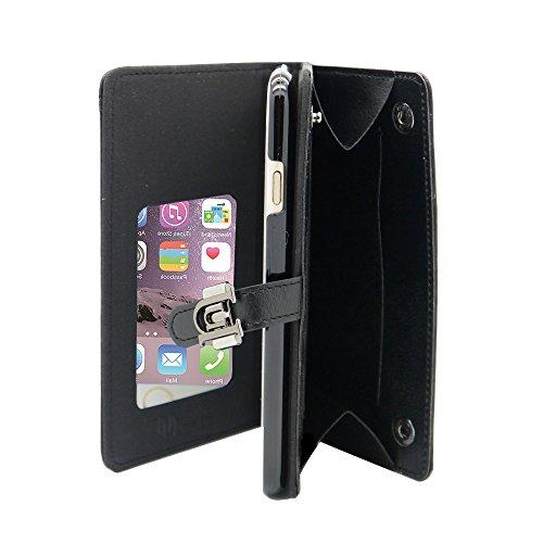 Uunique Luxe Exotic Slider Folio Wallet Weave Schutzhülle für iPhone 6/6S–Schwarz